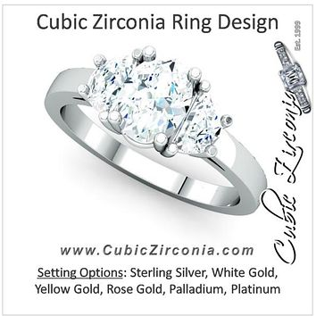 Cubic Zirconia Engagement Ring- The Lori Anne (2.25 or 2.50 Carat TCW 3-stone Oval Cut and Half-moon Design)