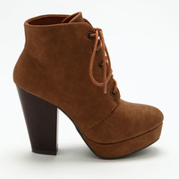 Chestnut Lace Up Platform Booties