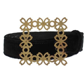 Dolce & Gabbana Black Velvet Gold Buckle Waist Belt