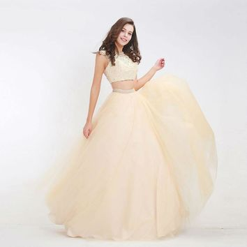 Champagne Princess Dresses Two-Piece O-neck Backless Beading Lace Tulle Ball Gowns Long Prom Dress