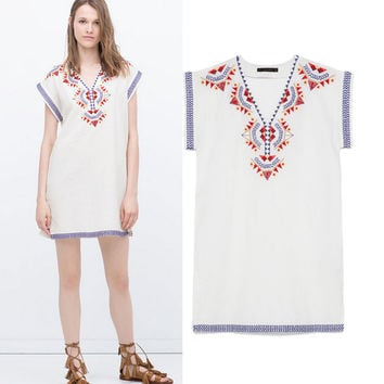 Women's Fashion Embroidery Cotton Linen Sleeveless Dress One Piece Dress [5013138692]