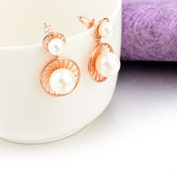 Simulated Pearl Drop Rose Gold Plated Earrings