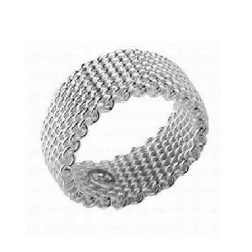 Fashion chain mesh silver plated ring