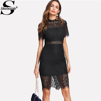 *Online Exclusive* Short Sleeve Bodycon Dress with Sheer Lace Panels
