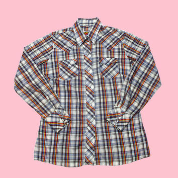 Vintage 90s Western Plaid Pearl Snap Button Up Shirt Womens Size Medium
