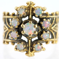 Antique 14k Gold Wide Band Ring Set with 9 Australian Opals