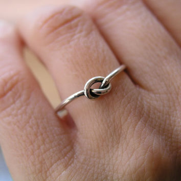 Free Shipping Silver knot ring, tiny heart connection Ring Sterling Silver Handmade Jewelry Friendship Ring Gift, Delicate Minimalist Ring,