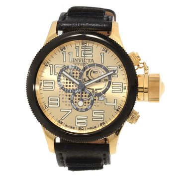 Invicta 14616 Mens Russian Diver Gold Dial Gold Steel Black Leather Strap Chronograph Watch