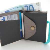 SILVER, Leather Wallet, Small Wallet, Silver Leather Purse, Made Of Up Cycled Leather, Handmade Wallet With Blue Elastic Band