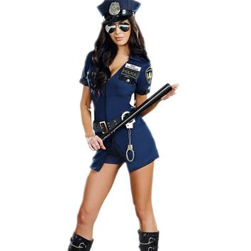 Sexy Police Women Costume Cop Outfits Adult Woman Policemen Cosplay Policewoman Romper Fancy Dress Halloween Costume For Women