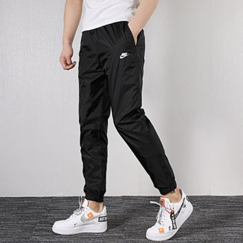 """Nike"" Fashion Pure Black LOGO Printed Nine-cent Pants"