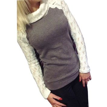 Sweater Pull Femme Women Turtleneck Pullover Knitted Tops 2018 Autumn Patchwork Lace Crochet Long Sleeve Jumper Plus Size 3XL