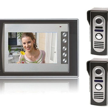 SY803M21 7 LCD Home Security Video Door Phone Intercom Kit 2 Cameras & 1 Monitor