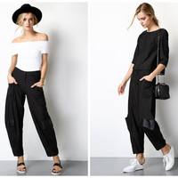 women stripe pants in black,crop length,high fashion,chic,mod,minimalist,fashion,unique,limited,for summer,spring,autumn.--E0220