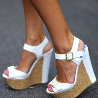 Wall Street Wedges: White Leather | Hope's