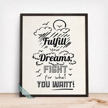 Fulfill Your Dreams Print, Typography Decor, Inspirational Quote, Motivational Print, Room Decor, Wall Art, Mothers Day Gift