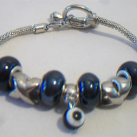 Beaded Evil Eye Bracelet Silvery Black Charm Beads Jewelry Silver Tone Fashion Accessories For Her