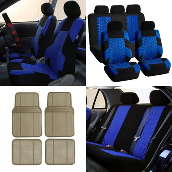 FH Travel Master Car Seat Covers for Auto, Full Seat Covers Combo with Beige Floor Mats, Blue Black