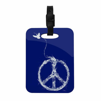 "Frederic Levy-Hadida ""Bird Sewing Peace"" Blue White Decorative Luggage Tag"
