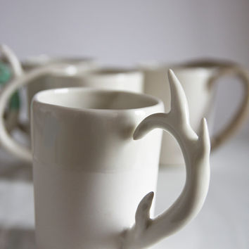unique coffee mug. for him, for men. deer antler handle. white porcelain drinking cup. karoArt