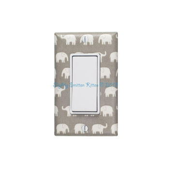 Gray Elephant Nursery Decor / Rocker Light Switch & Plate / Tiny Small Elephants