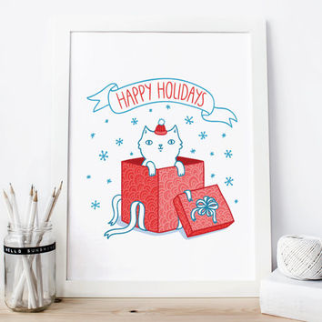 Happy Holidays poster Christmas cat print  Decor, Holiday Cat Art Print Christmas kitten home wall decor Gift
