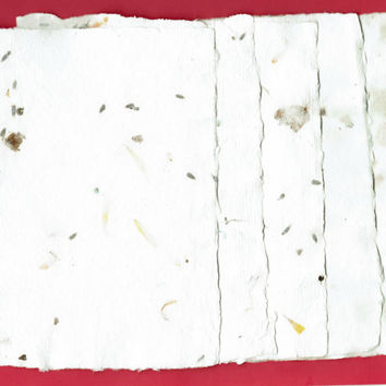 "Rose Paper, Lavender, Calendula, White, Handmade Paper, Deckle Edge Paper, Recycled Paper, Eco Friendly Paper, Textured Paper,  5""x7"""
