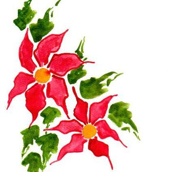 CIJ Handpainted Greeting Card Poinsettias Seasons greetings Watercolor Art Christmas Women Teens Blank Red Greenunder 10