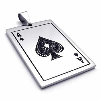 Fashion Jewelry Playing Cards Spades A Pendant 316L Stainless Steel Necklaces Mens Necklaces 20073