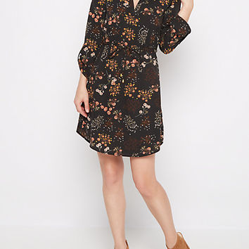 Black Wildflower Challis Shirt Dress