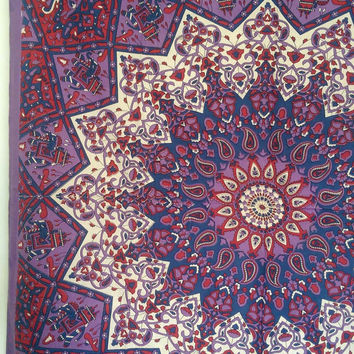 Twin Purple Star Mandala Fabric Wall Tapestry Throw Bohemian Hippie Mandala Wall Hanging Bedspread Boho Bedding Ethnic Home Decor-alZakhira