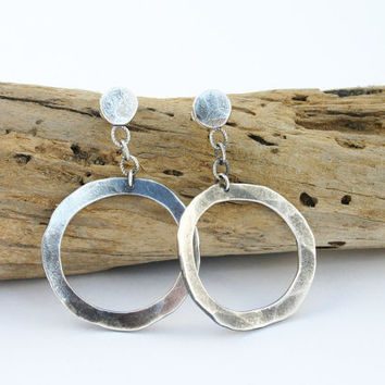 Sterling silver dangle earrings. Hammered silver hoop earrings. Large hoop earrings. Hammered silver earrings. Handmade unique jewelry
