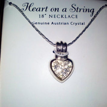 Vintage Genuine Austrian Crystal Sparkling Silver Heart Necklace 18 inches NIB Love Gift from Estate Fne Costume Jewelry for Women Girls