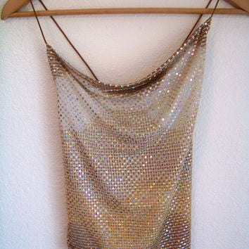 S 90's HOLOGRAM Club Kid Sequin Tank Top Shirt Small 1990s Vintage