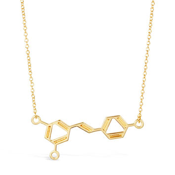 Gold Wine Molecule Necklace