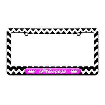 Princess - Crowns Spoiled - License Plate Tag Frame - Black Chevrons Design