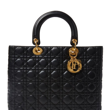 Christian Dior Women's Black Lambskin Lady Dior Large - Black