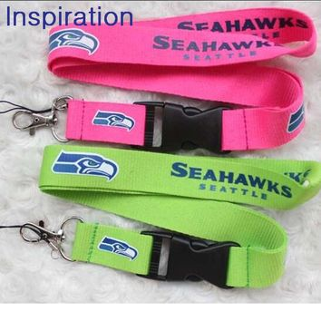 Pink Green Seattle Seahawks Necklace Lanyard Neck Strap Keychain For ID Pass Card Badge Gym Key Mobile Phone USB Holder Lanyard