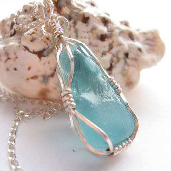 Pale Blue Sea Glass Wire Wrapped Pendant Necklace, Beach glass necklace