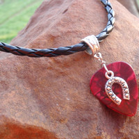 Horseshoe Braided Necklace - Western Guitar Pick Jewelry, Tibetan Silver Braid Bail, Choice 12 Colors and Custom Size