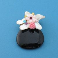 Onyx, Stone, Handmade, Pearl, Broch, Onyx, Gemstone, Pink, Rose, Flower, Friendship, Birthday, Gift, Jewelry, Accessories