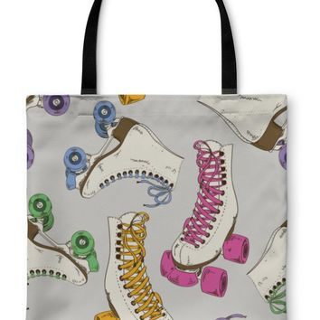 Tote Bag, Pattern With Roller Skates