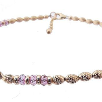 14k Gold-Filled Pink Sapphire Anklet | Truth | Sincerity | Faithfulness Ankle Bracelet | Healing Crystals