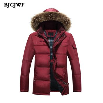 Winter jacket men white duck down jacket hooded Fur parkas