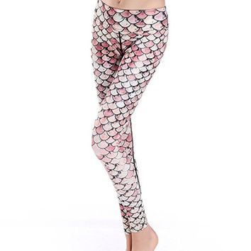 Mermaid Fish Scale Printed Breathable Stretchy Yoga Workout Leggings