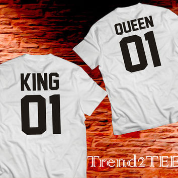 King and Queen Couples Shirts, Couples Shirts, Matching 100% Cotton T-shirts