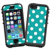 "White Polka Dot on Turquoise ""Protective Decal Skin"" for LifeProof nuud iPhone 5s Case"
