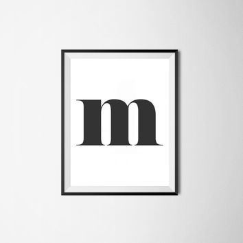 Letter m, 8x10 digital download, monogram, initial, black and white print, printable, poster, home decor, wall art, modern print, alphabet