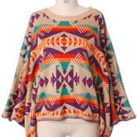 Aztec Pattern Wool Cape - Retro, Indie and Unique Fashion