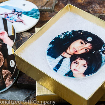 Personalized Photo Ornament - Custom Photo Hoiliday Ornament - Great Baby's 1st Christmas Ornament - Ceramic Circle